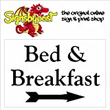 Bed & Breakfast rechts Pfeil Schild aus Aluminium 1977, PVC oder-Vinyl-Aufkleber 15cm x 20cm approx 6