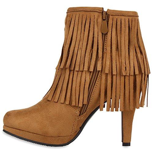 Gefütterte Damen Ankle Boots Fransen Stiefeletten Zipper Hellbraun