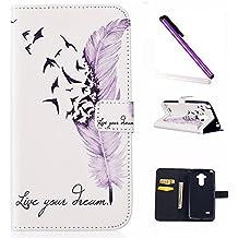 LG G4 Stylus Funda,LG G Stylo Funda Wallet Case,Carcasa LG G4 Stylus / LG G Stylo / LS770,LG G4 Stylus Carcasa Flip Case,LG G Stylo / LS770 Caso,EMAXELERS 3D Lujo Caso Funda protección Cubrir Origami de cuero sintético premium Monedero función con soporte para LG G4 Stylus / LG G Stylo / LS770 + 1 Pcs Stylus Pen Purple Feather