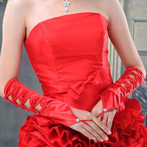 KHSKX Braut Rote Schleife Knoten Lange Handschuhe Hochzeitskleid Zubehör Finger Elastischem Satin...
