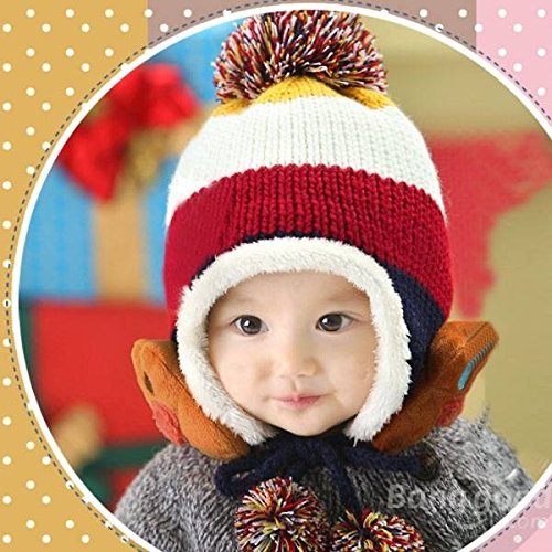 mark8shop Baby Bär Stripe Beanie Mütze Hat Plus Samt Dick Gestrickt Wolle Gap -