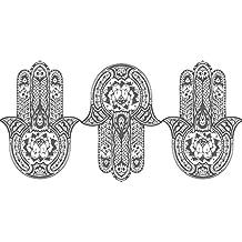 Adhesivos de pared de Hamsa Mano Tatuaje de pared Yoga Arte Fátima indio  Ganesh Buda Adhesivos 04f73f20aa4b