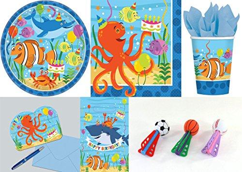 Preisvergleich Produktbild 8 Kinder SET - OCEAN BUDDIES - ( Teller, Becher, Servietten, Einladungskarten, Mitgebseltüten + Softbälle Dart )