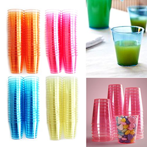 Party Essentials Plastique 2 cl liquide Contenance Verres à shot, One chaque couleur, Lot de 40 colorés jetables Shot Tasses