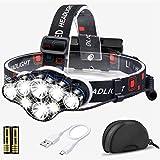 Stirnlampe, 13000 Lumen Brighest 8 LED kopflampe mit weiß Rot Stirnlampe Beleuchtung, USB...