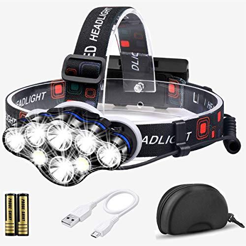 Stirnlampe, 13000 Lumen Brighest 8 LED kopflampe