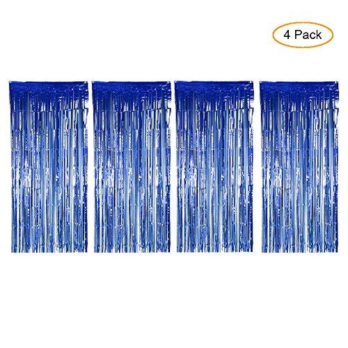 mit Foto Booth Hintergrund Tinsel Tür-Vorhang für Hochzeit Geburtstag und für Festival Dekoration blau (Luau Hintergrund)