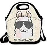 No Prob- Llama Waterproof Lunch Tote Bag Portable Picnic Lunch Box Lunch Pouch