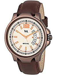 Watch Me Day And Date Watches For Mens Stylish Analog White Dial Brown Leather Strap Quartz Watch For Men And...