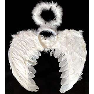 White Feather Angel Wings Fancy Dress costume with White Fluffy Angel Halo Children/Adults Angel Costume