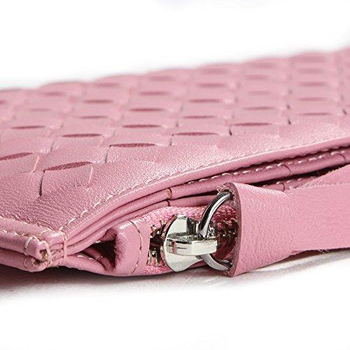 Pecora in vera pelle a portafoglio con cerniera in tessuto Borsa Porta carte per donna ragazza Black Pink