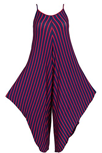 Jumpsuit mit Spaghettiträger Haremshose Damen Overall Einteiler gestreift Blau-Rot 38+40