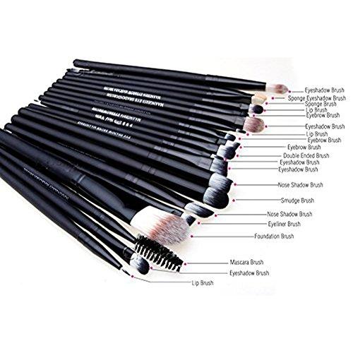 comprare on line Leisial - Set di 20 pennelli da trucco, per applicazione di fondotinta, fard, trucco per le sopracciglia, gli occhi (Nero) prezzo