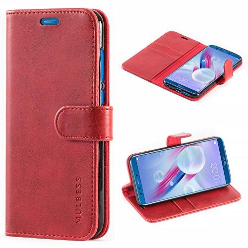 Huawei Honor 9 Lite Hülle,Mulbess Premium Handy Schutzhülle Ledertasche im Kartenfach für Huawei Honor 9 Lite Tasche Hülle Leder Etui Schale,Weinrot (Vintage Style)