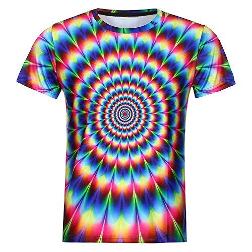 Herren 3D Druck T-Shirts Unisex Vortex Print-Shirts Spaß Motiv Pullover Rundhals Kurzarmshirt Muskel Shirt Sommer Oversize Slim Fit T-Shirt Karneval Party Kostüm Qualität Tops Bluse