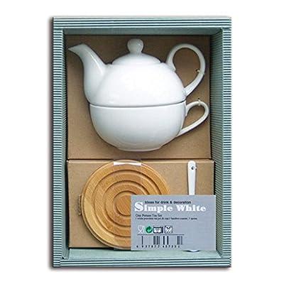 laroom 13031-Set Cadeau Bureau Théière et Tasse en Porcelaine Blanc 1Personne, Blanc