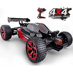 GizmoVine RC Voiture Télécommandée 4WD Haute Vitesse Voiture Electrique Racing 2.4 Ghz Buggy RC Véhicule pour Enfants et Adultes (Rouge)