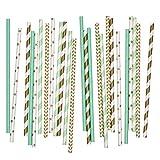 Salong Papierstrohhalme - Trinkhalme aus Papier in Vielen Farben - Party-Strohhalme-Mix Gold-Mint - 25 Stück