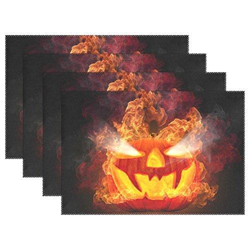 Wehve Tischsets, abwischbar, für Halloween, Jack-O'-Lantern, Polyester-Mischgewebe, Multi 01, 12 x 18 Inch
