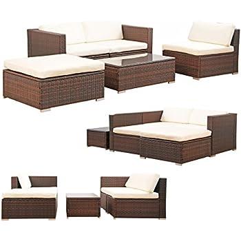 Rattan gartenmöbel sofa  Amazon.de: POLY RATTAN Set Gartenmöbel Rattan-Lounge Gartenset ...