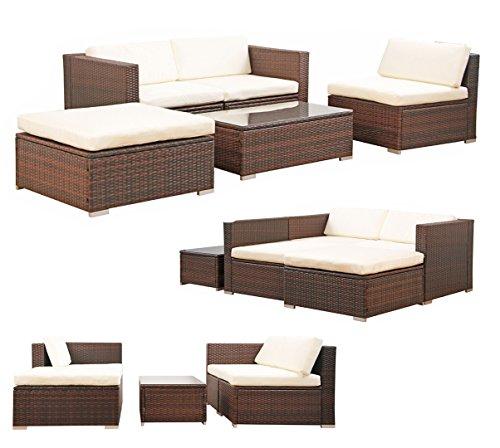 Svita Gartenset L (2 Sitze, 1 Tisch, 1 Bank) aus Rattan - variable Anordnung
