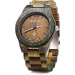 BEWELL ZS - W065A Holz Herren Quartz Uhr römische Ziffer Skalen