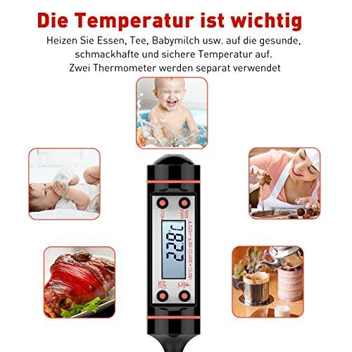 51zlgFJURBL - Grillthermometer TOPELEK 2 Stücke Fleischthermometer Digitale Küchenthermometer Haushaltsthermometer Bratenthermometer sofort lesbar mit langer Sonde, LCD-Bildschirm. Ideal für BBQ,Baby-Ernährung.