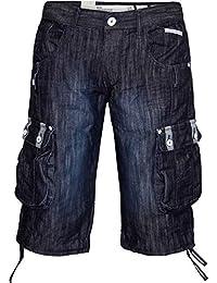 Crosshatch Player 16 Short Jeans Style De Cargo Longueur Genou pour Hommes