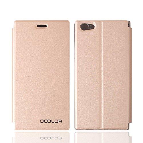 Guran® PU Leder Tasche Etui für DOOGEE Y300 Smartphone Flip Cover Stand Hülle Case-gold