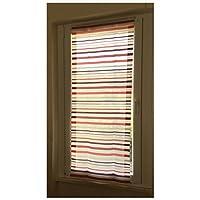 Coppia di tende a vetro finestre pannelli misto lino 60x240 Colore bianco a righe rosse e Bordeaux shabby - Pannello Di Vetro Del Pannello Della Finestra
