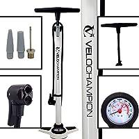 VeloChampion Bomba Pro De Bicicleta Profesional De Bastidor/Pie con Manómetro - La Mejor High Pressure Track Pump (Blanco)