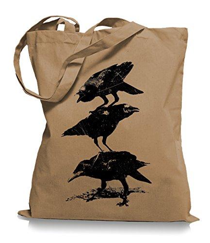 Ma2ca® Crows Krähen - Jutebeutel Stoffbeutel Tragetasche / Bag WM101 Caramell