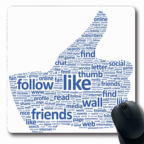 Mousepads Co ent Network Thumbs Welche Texte sind Schlüsselwörter in den sozialen Medien? White Like Online Tweet Design Längliche Form Rutschfeste Gaming-Mausunterlage Längliche Gummimatte,Gummimatte