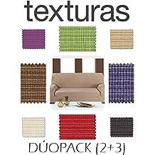PROMOPACK 3+2 Dúo Fundas de Sofá Elástica Rustika BASIC HOME by TEXTURAS (NEGRO)