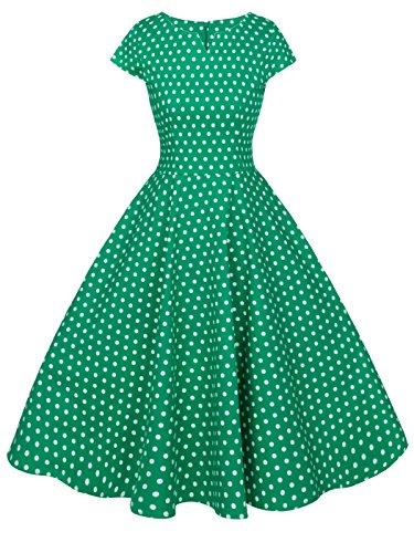 FAIRY COUPLE 1950S Vintage Rockabilly Lunares Cap Mangas Vestido de Baile DRT019(L,Verde Pequeña Blanco Puntos)