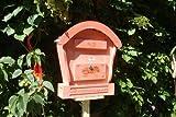 XL HBK-RD-ROT Briefkasten aus Holz amazon rot rötlich lasiert / eingelassen Briefkästen Holzbriefkästen Postkasten Runddach - passt auch zu vielen Vogelhäusern Vogelhaus Insektenhotel Insektenhotels Vogelhäuser aus Holz Ergänzung für Vogelhäuschen und Vogelfutterhaus Nistkasten Meisenkasten mit echt Holzschindel