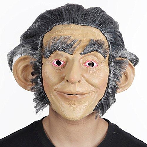 RUNTAR Deluxe Latex Mensch Kopf Mann mit Haaren Maske Halloween Kostüm Orang-Utan Affen Mann Affe primitive Maske (Affe Halloween Maske)