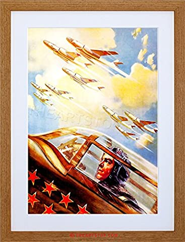 WAR MILITARY AIR FORCE SOVIET RED ARMY STAR BOMBER JET FRAMED PRINT F12X5152