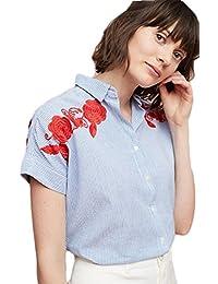 20 Flores Y 50 Eur Amazon Blusas Camisas Bordado es Para wCWqUI