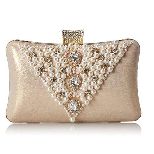 Sallyshiny donna con varietà di cristallo di rocca, con perle di cristallo-Evening Clutch Bag-Sacchetti per feste, matrimoni o da borsetta (oro)