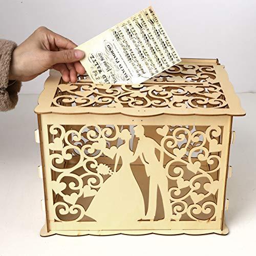 Maritown Rustikale hölzerne Hochzeitskarte Briefkasten mit Schloss und Karte Zeichen, personalisierte Hohle Gast Geschenk Karte Box Spardose für Rezeption Baby Shower Hochzeitstag Party Dekorationen