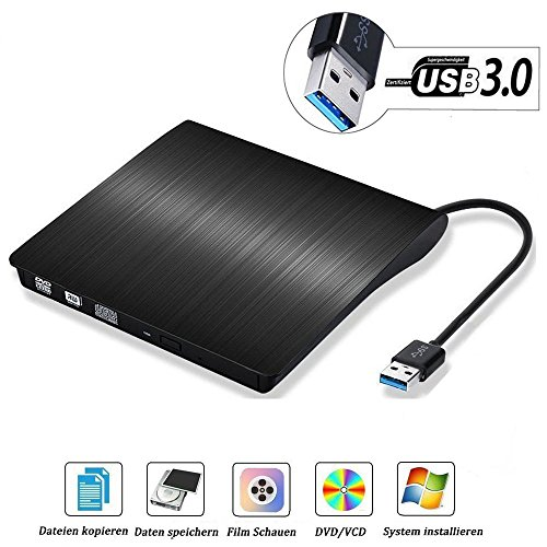 USB3.0 DVD-RW DVD/CD Brenner Slim extern Laufwerk Portable DVD CD Brenner, QinYun Superdrive für alle Laptops/Desktop z.B Lenovo,Acer,Asus,PC unter Windows und Mac OS für Apple Macbook, Macbook Pro, MacbookAir, iMac – Schwarz (Dvd-player-spiele)
