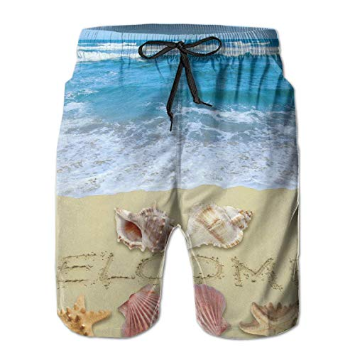 HOOTDYA Partrest Welcome Summer Background Men's Summer Casual Shorts Beachwear Swimming Short Trunks Surfing Shorts L -