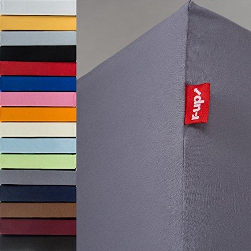 r-up Passt Spannbettlaken 180x200-200x220 bis 35cm Höhe Viele Farben 100{71c6cd47898a7fa642c3a70e083c0206946e101088549ca4e31f1ac9ffd2b1ea} Baumwolle 130g/m² Öko-Tex stressfrei Auch für Boxspringbetten (Dunkelgrau)