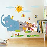 #9: Decals Design 'Jungle Cartoon Cute Animals' Wall Sticker (PVC Vinyl, 60 cm x 90 cm, Multicolour)