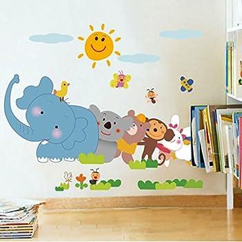 Decals Design 'Jungle Cartoon Cute Animals' Wall Sticker (PVC Vinyl, 60 cm x 90 cm, Multicolour)