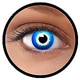Farbige Kontaktlinsen blau Elf MIT STÄRKE | Ideal für Halloween, Karneval, Fasching oder Fastnacht | Inklusive Behälter von FXEYEZ | In verschiedenen Stärken als 2er Pack