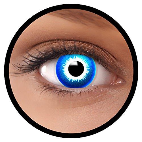 (Farbige Kontaktlinsen blau Elf | Ideal für Halloween, Karneval, Fasching oder Fastnacht | Inklusive Behälter von FXEYEZ | Ohne Stärke als 2er Pack)