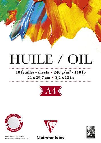 Clairefontaine 96311C Huile Ölpapier Block (verleimt, 25 Blätter, speziell für Ölfarben geeignet, 240 g, DIN A4, 21 x 29,7 cm) weiß -