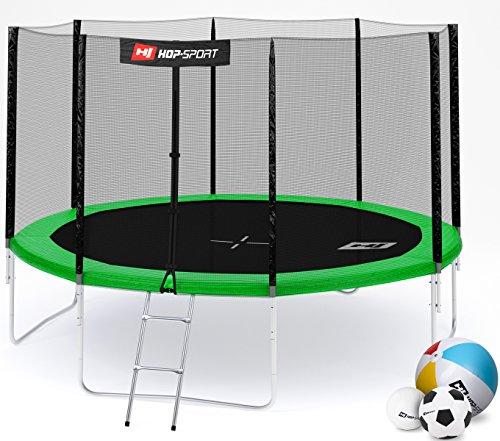 Hop-Sport Gartentrampolin 244, 305, 366, 430, 490 cm Komplettset inkl. Außennetz Leiter Wetterplane Erdanker Grün (366 cm)